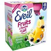 Compotes bébé pomme banane cassis et touche de lait dès 8 mois Eveil