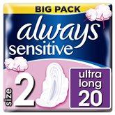 Always Sensitive Long Always Ultra Serviettes Hygiéniques Avec Ailettes x20