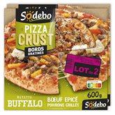 Sodeb'O Pizza pâte fine Crust Sodebo Buffalo - Lot de 2 - 2x600g