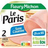Fleury Michon Jambon Le Paris Fleury Michon -25% de sel - 2 tranches - 80g